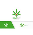 marijuana leaf and play button logo vector image