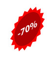minus 70 percent sale red emblem icon isometric vector image vector image