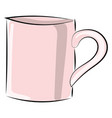 pink cup on white background vector image vector image