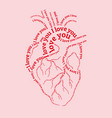 pink human heart with i love you text vector image vector image