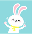 rabbit bunny waving paw print hands yellow scarf vector image vector image