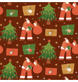 seamless pattern with santa claus gift boxes vector image