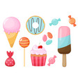 set cartoon sweets and candies vector image