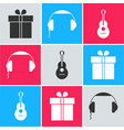 set gift box headphones and guitar icon vector image vector image