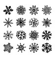 set of snowflakes christmas symbols xmas vector image