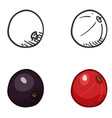 set sketch and cartoon berry black and red vector image vector image