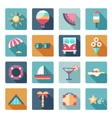 set summer traveling icons with shadows vector image