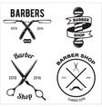 set vintage barber shop emblems label badges vector image vector image