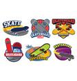 skateboard badge design set vector image vector image