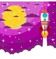 Space Rocket moon in the starry sky with space vector image vector image