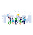 team corporate people celebration happy office vector image