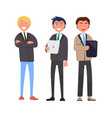 three self-confident men in elegant suits vector image vector image