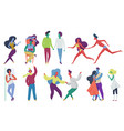 tiny trendy abstract people couples in seasonal vector image vector image