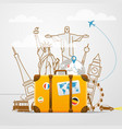 Vacation travelling composition with yellow bag vector image vector image