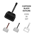 Viking battle hammer icon in cartoon style vector image