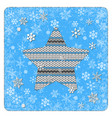 vintage card knitting star snowflakes background vector image vector image