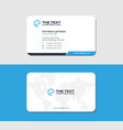 white and blue business card with continents map vector image vector image
