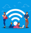 wi-fi concept people using vector image vector image