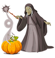 Witch casts a spell over pumpkin vector image vector image