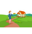woman real estate agent selling a house vector image