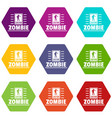 zombie danger icons set 9 vector image vector image
