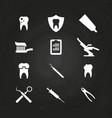 stomatology icons set on chalkboard - teeth care vector image