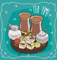 traditional asian sweets and masala chai tea vector image
