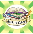 Back to School label with ribbon banner vector image