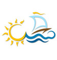 boat on the waves and the sun vector image