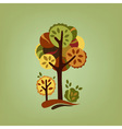 Card with stylized autumn trees vector image