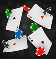 casino chips and aces falling on a black vector image
