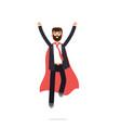 superhero businessman in red cloak character in vector image