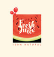 banner for fresh juice with watermelon slice vector image vector image