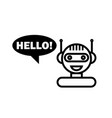 black line chat bot cute smiling chatbot icon vector image