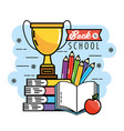 books with apple and pencils colors to back school vector image