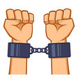 captured hands chained with handcuff vector image