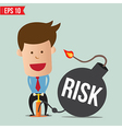 Cartoon Business man pump risk bomb vector image vector image