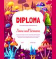 cartoon fantastic fairy magic mushrooms diploma vector image vector image