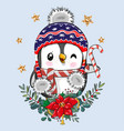 cartoon penguin with christmas wreath vector image