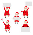 cartoon santa claus holding blank empty poster vector image