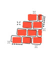 cartoon wall brick icon in comic style wall sign vector image vector image