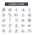 clerks line icons for web and mobile design vector image