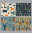 collection seamless patterns with hand vector image