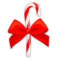 colorful cartoon candy cane with red bow vector image