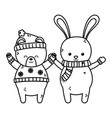 cute polar bear and rabbit animal merry christmas vector image vector image