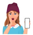 cute surprised young female holding new smartphone vector image