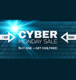 cyber monday sale banner template blue vector image