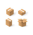 different craft boxes set isolated on white vector image
