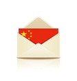 envelope letter flag of china vector image vector image