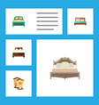flat bedroom set of bedroom crib hostel and vector image